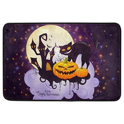 Wamika Halloween-Fußmatte, Heimdekoration, Rutschfest, waschbar, gruselig, Katze Schloss, Kürbis Vollmond, für den Innen- und Außenbereich, für Halloween, Party-Dekorationen, 60 x 40 cm