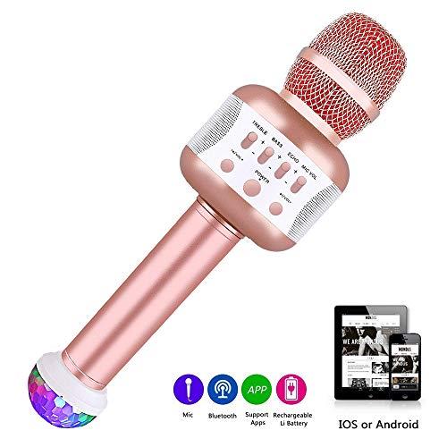Bluetooth USB Mikrofon mit Disco-Lichtern, tragbare drahtlose Mikrofon für die Aufnahme von Gesang und Sprache als Lautsprecher für Android/IOS, PC oder Alle Smartphone (Für Mikrofone Drahtlose Gesang)