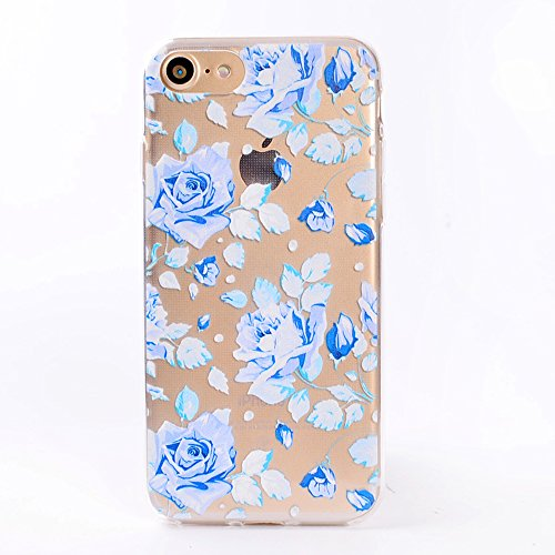 "Coque iPhone 7 , IJIA Ultra-mince Transparent Bleu Beau Roses TPU Doux Silicone Bumper Case Cover Shell Housse Etui pour Apple iPhone 7 4.7"" TT1"
