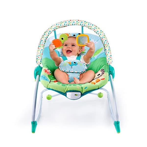 Bright Starts Playful Parade Baby to Big Kid Rocker Bright-Starts Seat can rock back and forth to soothe, or can be set to a fixed position for small babies and older toddlers Full body recline with 2 positions Soothing vibrations 5