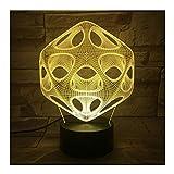 Gráficos Abstractos Luz de ilusión LED, Mesita de Noche óptica en 3D Luz de Noche Iluminación de lámpara para niños Iluminación de sueño Botón táctil de 7 Colores Lámpara de Mesa decorativa1