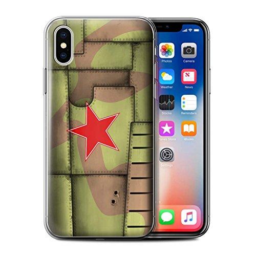 Stuff4 Gel TPU Hülle / Case für Apple iPhone X/10 / Amerika/Blau Muster / Kampfflugzeug Flügel Kollektion Sowjetisch