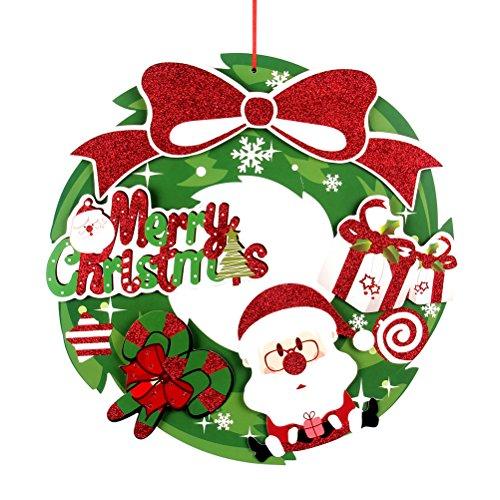 LUOEM Weihnachten Kranz Weihnachtsfeiertag Kranz Girlande für Festival Baum Tür Wanddekoration Ornamente