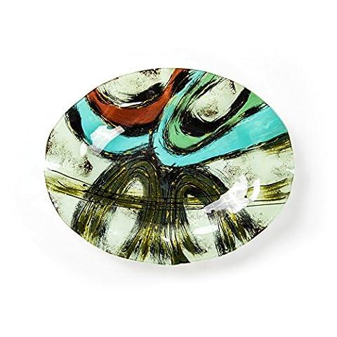 Hausmann & Söhne Deko Schale Glas |Glasteller | Deko Glasschale | Design Schale |Tischdeko | rot blau schwarz weiß gold|