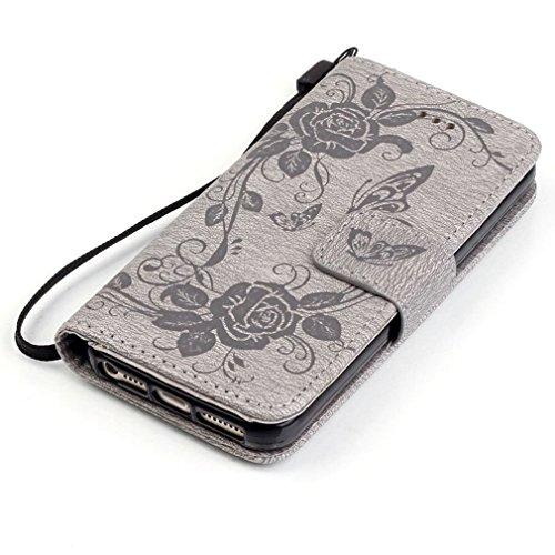 SZHTSWU Hülle für iPhone 6 6s, Magnetverschluss Schmetterling Blumen Series mit Lanyard Strap Design PU Leder Tasche Weiche Silikon Schutzhülle Hülle Flip Wallet Case Handyhülle im Bookstyle Design mi Grau