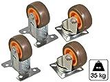 4 tlg Set Transportrollen - 2x Lenkrolle + 2 Bockrolle TPR Gummi 50 mm max. 35 kg