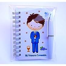 Recuerdos de Comunión para invitados. Libretas con mini bolígrafo como regalos de Primera Comunión niño. Pack 30 unidades. ¡Sus amiguitos alucinarán!