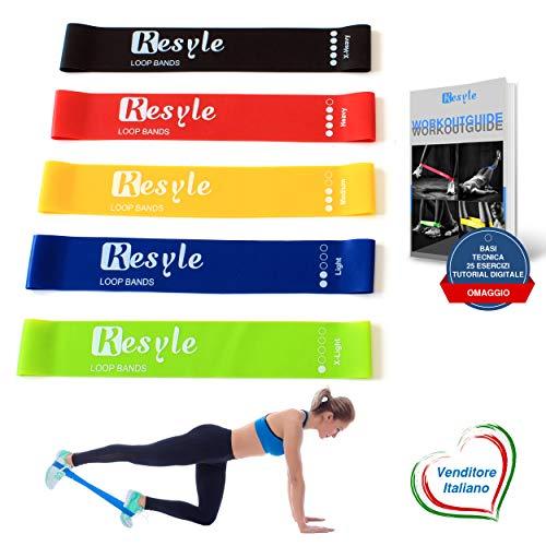 Kesyle® elastici fitness | 5 bande elastiche resistenza | loop bands | elastici palestra banda elastica fitness | mini band elastiche con borsa da trasporto in omaggio + guida 25 esercizi tutorial