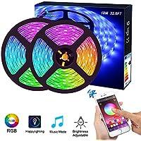 Ruban LED Bluetooth, ALED LIGHT Bande LED Étanche 2x5M(10M) 5050 RGB 150 LEDs, Contrôlé par APP du Smartphone Android et IOS, avec Récepteur Bluetooth, Alimentation 12V 5A, Télécommande IR 24 Touches