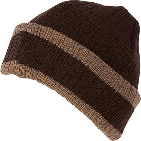 Sakkas CADK1522 - Nixon Unisex Ribbed Stripe Beanie Cap -