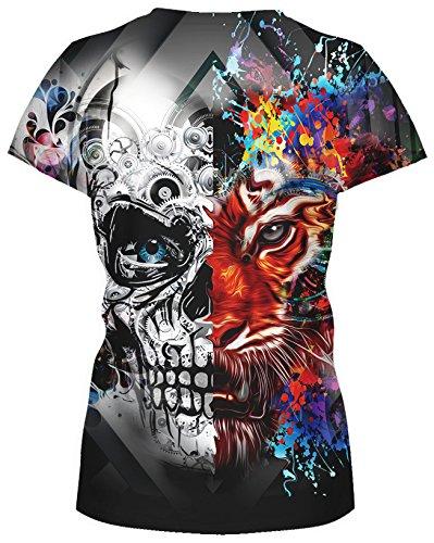 TDOLAH Damen T-Shirt 3D Print Shirt Tee Paar Kostüm Fasching Weltraum Thema Wolf Löwe Katze Tierdruck Tiger Schädel