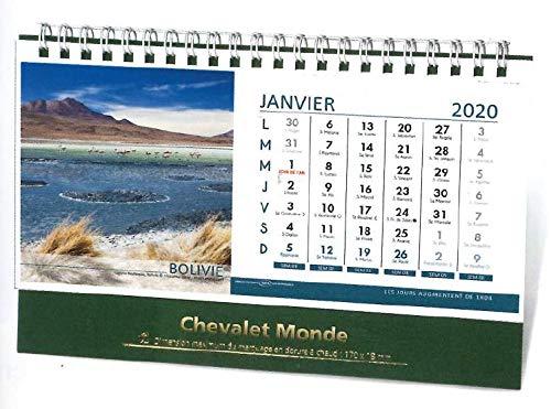 ABL - 1 Calendrier Mensuel Chevalet - Jan. à Déc. 2020 - Paysages du Monde - 12 x 20 cm