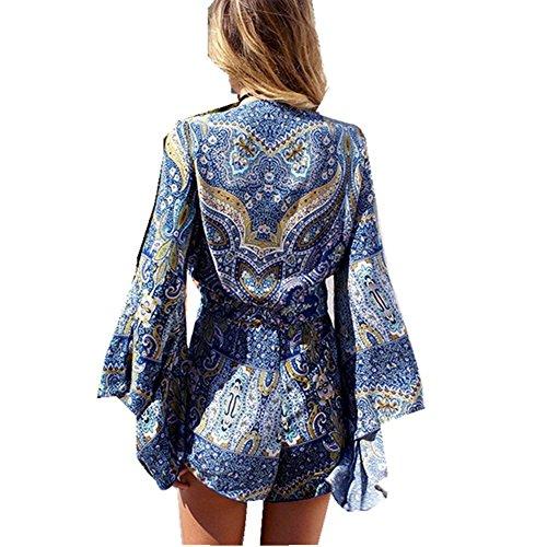 GenialES Bohémien Paréo Robe de Maillot de Bain de Plage Bikini Cover Up Bleu