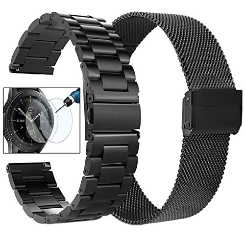 VIGOSS Kompatible Galaxy Watch 42mm Armband Galaxy Watch Active 2 40mm 44mm Armband 20mm Solider Zubehör Edelstahl Metall Ersatz Uhrenarmband für Galaxy Watch 42mm SM-R810 (Metall+Mesh Schwarz)