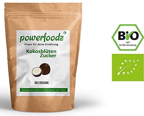 Powerfoodz - 1kg Bio Kokosblütenzucker Reiner Kokos Zucker aus Fairem Handel (Fair Trade) (1000g) (Kokosöl Nektar)