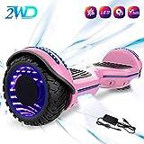 2WD Hoverboard 6.5 Scooter électrique de, Scooter électrique de équilibrage d'individu de 6.5 Pouces avec Les Roues Lumineuses, Orateur de Bluetooth,UL certifié - Moteur de 2 * 350W (Rose)