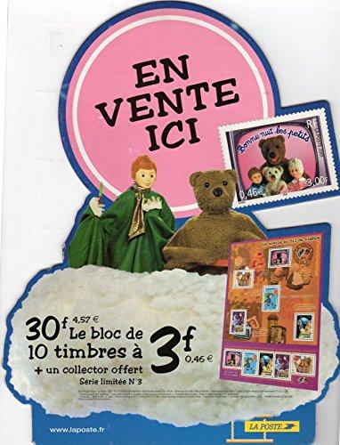 Bonne nuit les petits - La Poste - petite PLV promotionnelle pour le bloc de timbres et le coffret collector - H. 28 cm par Claude LAYDU