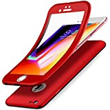 Coque iPhone 8,Coque iPhone 7,ikasus Intégral 360 Degres Full Body Protection Etui Film Protection en Verre trempé Gel Silicone TPU Souple Case Coque Housse Etui pour iPhone 8/iPhone 7 Coque,Rouge