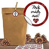 24 Kraftpapiertüten mit 24 weihnachtlichen Aufklebern'Liebevolle Botschaften' zum Verschließen als Weihnachts-Geschenktüte zum Basteln und Befüllen