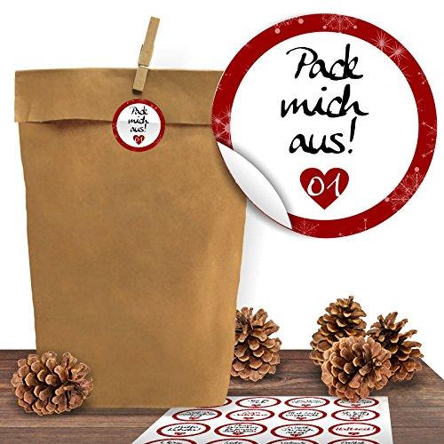 Adventino Adventskalender 24 Kraftpapiertüten mit 24 weihnachtlichen Aufklebern Liebevolle Botschaften zum Verschließen als Weihnachts-Geschenktüte zum Basteln und Befüllen