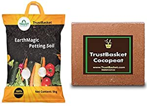 TrustBasket Enriched Organic Earth Magic Potting Soil Fertilizer for Plants, 5 Kg & Cocopeat Block - Expands to 75 litres of Coco Peat Powder,Brown Combo
