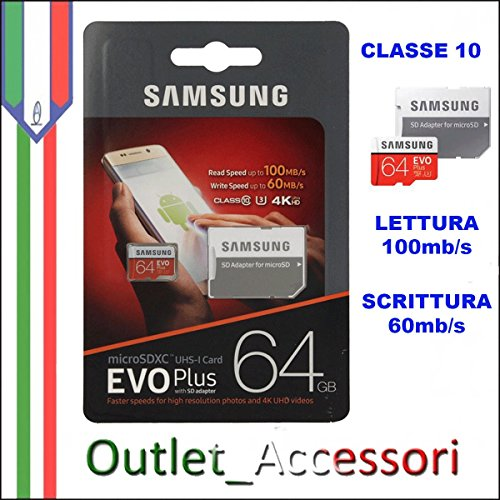 Galleria fotografica Memoria Memory Card Samsung Evo Plus Micro SD MICROSDHC 4K UHD Classe 10 64gb SDHC UHS-I+ MB-MC64GA/EU