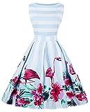 ZAFUL Damen Retro Elegante Cocktailkleider 50er Jahre Hepburn Ärmellos Abendkleid Swing Kleider-Blau Flamingo-XL