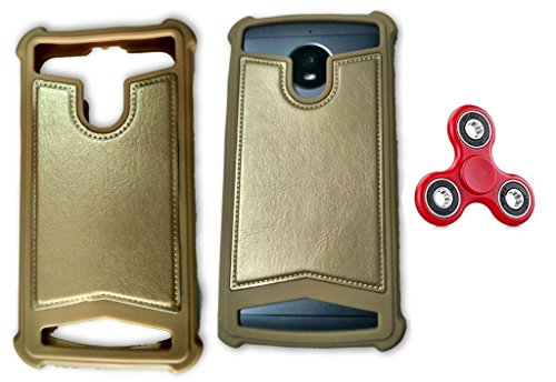 BKDT Marketing Rubber and Leather Soft Back Cover for MICROMAX A190 Canvas HD Plus- Gold with Fidget Spinner  available at amazon for Rs.519