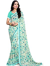 Alveera Indian Beauty Collection Latest Design Georgette Saree With Blouse - Light Blue