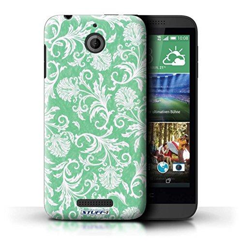 Kobalt® Imprimé Etui / Coque pour HTC Desire 510 / Fleurs Bleues conception / Série Fleurs Fond Vert