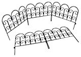 Woodside Dekorative Beet-/Raseneinfassung - Mini-Zaun aus Stahl - 5 Stück