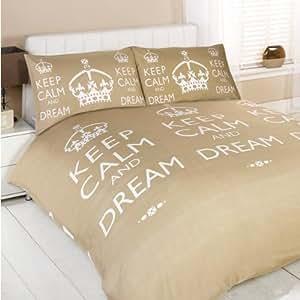 Parure housse de couette « Keep Calm And Dream », Vison, pour lit 200 x 200 cm