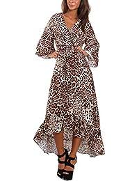 Toocool - Vestito donna scollato asimmetrico animalier elegante abito sexy  JL-3843 1157721ce40