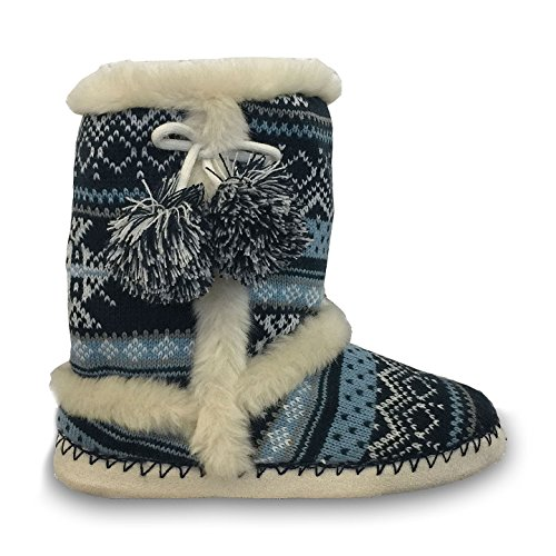 Femmes Tricoté Dunlop Fluffy Doux Fourrure Chaud Confortable Nordic Yeti Boot Slipper Une Botte Farah Navy