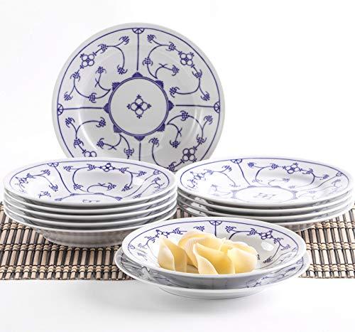 Kahla 160620O75019H Blau Saks Geschirrset Porzellan Tafelservice Tellerset für 6 Personen 12-teilig Suppenteller 22 cm Speiseteller 23,5 cm Teller Set blauweiß rund
