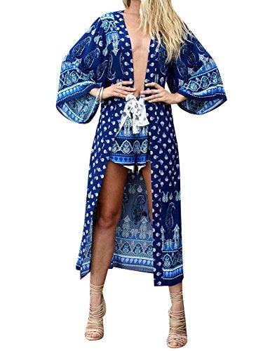 LaoZan Donna Manica Lunga Boho Stampa Allentato Scialle Kimono Cardigan Top Cover Up Camicetta Blu Zaffiro Taglia Unica