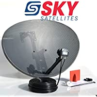 Sky Satellites 80CM Zone 2 Freesat HDR Satellite Dish DIY Self Installation Kit,Latest Dish with Quad LNB,20 Meter Twin Black coax Cable all necessary Brackets,Bolts and SATELLITE FINDER (20 Meter Twin Kit, Black)