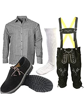 S3 Trachtenset (Hose +Hemd +Schuhe +Socken ) Bayerische Lederhose Trachtenhose Oktoberfest Leder Hose Trachten