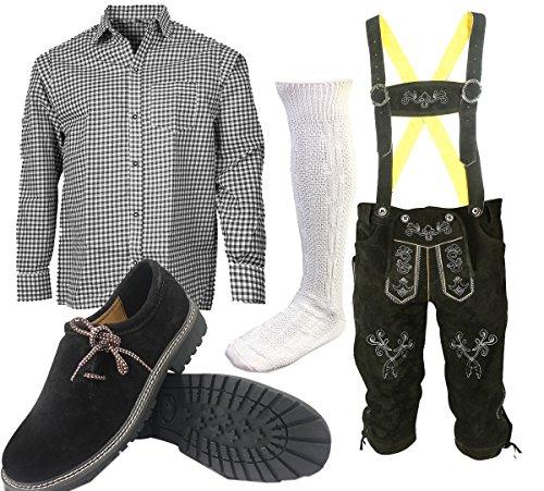 ALL THE GOOD S3 Trachtenset (Hose +Hemd +Schuhe +Socken) Bayerische Lederhose Trachtenhose Oktoberfest Leder Hose Trachten (Hose 52 Hemd 40/41 Schuhgröße per Email) -