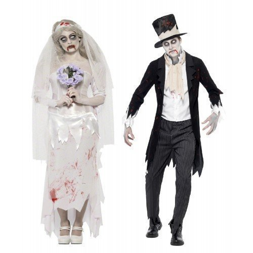 (Fancy Me Herren Damen Paar Kostüm Zombie Geist Leiche Braut & Bräutigam Halloween Verkleidung Outfit - Ladies UK 8-10 & Mens Medium)