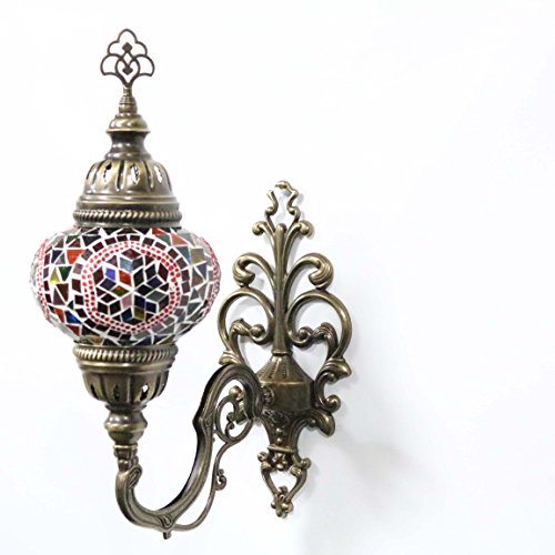 Turkish Mosaic Sconce Wall Lamp, Stunning Moroccan Style Handmade with Large Size (14cm) Glass Globe by TK Bazaar (Afghanite, AP2000)