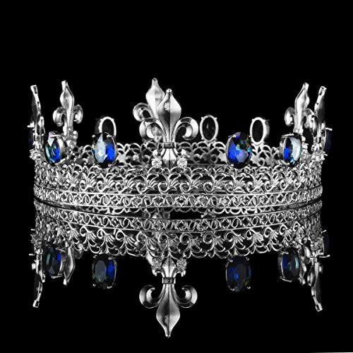 Sunshey 2 Inch de Hauteur Diadèmes Royal Rétro Plaqué d'Or Roi et Reine en Saphir Ovale et en Zircon Cubique Médiévale Coiffure Couronne argent