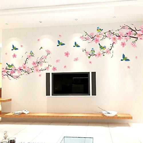 Zyclssrv adesivo decalcomania parete floreale auto - ramo di fiori di pesco adesivo fiore pianta wall stickers 59 * 118 pollici -a