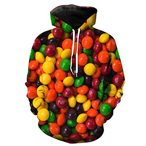 Ywfzzxs 3D Hoodies Sweatshirts Hd Digital Gedruckt Langarm Große Taschen Pullover Atmungsaktiv Unisex Süßigkeiten M