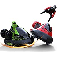 """deAO RC Bumper Cars Battle """"Bump and Eject"""" Remote Control Stunt Vehicles Set of 2 27MHz vs 40MHz Speed Cars Ejectable Drivers Red vs Green"""