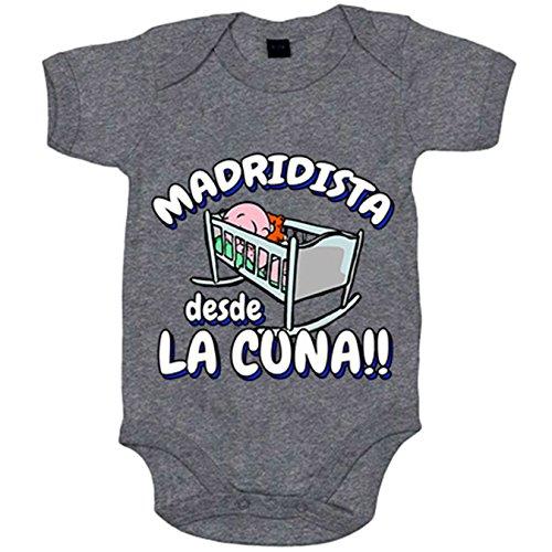 Body bebé Madridista desde la cuna Merengue Madrid fútbol - Gris, 6-