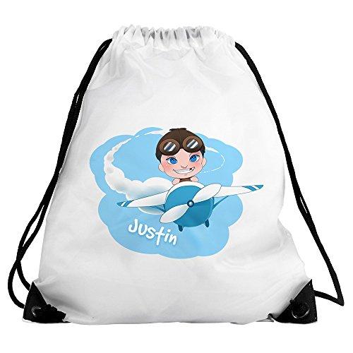 Eurofoto Turnbeutel mit Namen Justin und Motiv mit Flugzeug und Pilot für Jungen | Sport-Beutel für Kinder | Gymbag