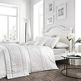Happy Linen Company Set Copripiumino - Elegante Design con Paillette - Bianco - Matrimoniale