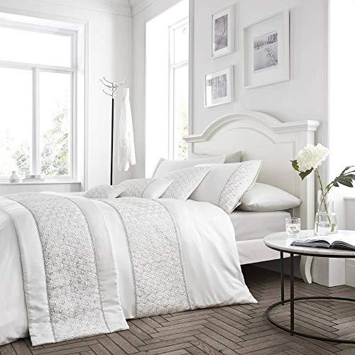 Set copripiumino - elegante design con paillette - bianco - una piazza e mezza