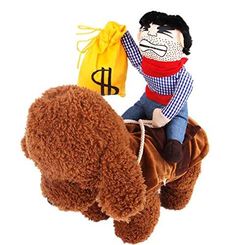 Haustier Kostüm Cowboy Reiter Hundekleidung mit Puppe und Hut oder Tasche Lustige Haustier Ritter Art Kleidung für Hundekatze Dog Clothes (S, ()